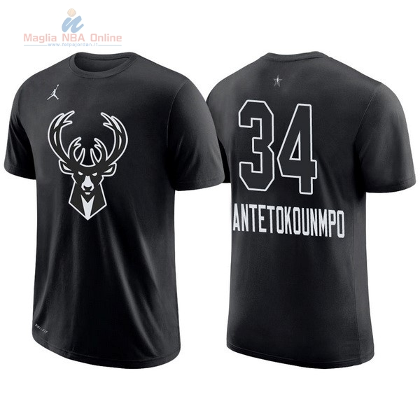 Acquista Maglia NBA 2018 All Star Manica Corta  34 Giannis Antetokounmpo  Nero 489137236be2