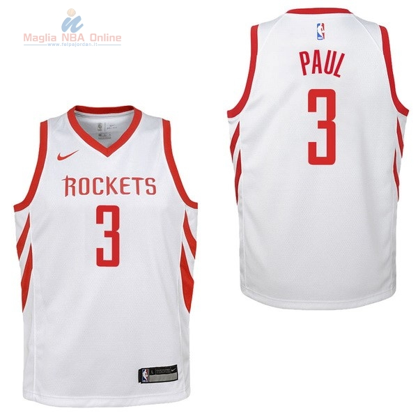 Acquista Maglia NBA Bambino Houston Rockets #3 Chris Paul Bianco Association 2017-18