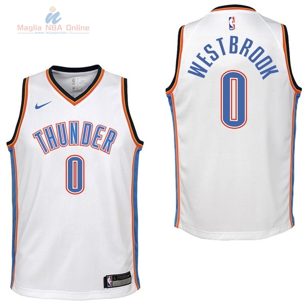 Acquista Maglia NBA Bambino Oklahoma City Thunder #0 Russell Westbrook Bianco Association 2017-18