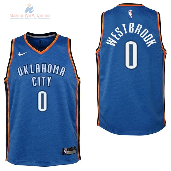 Acquista Maglia NBA Bambino Oklahoma City Thunder #0 Russell Westbrook Blu Icon 2017-18