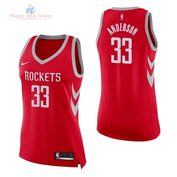 Acquista Maglia NBA Donna Houston Rockets #33 Ryan Anderson Rosso Icon