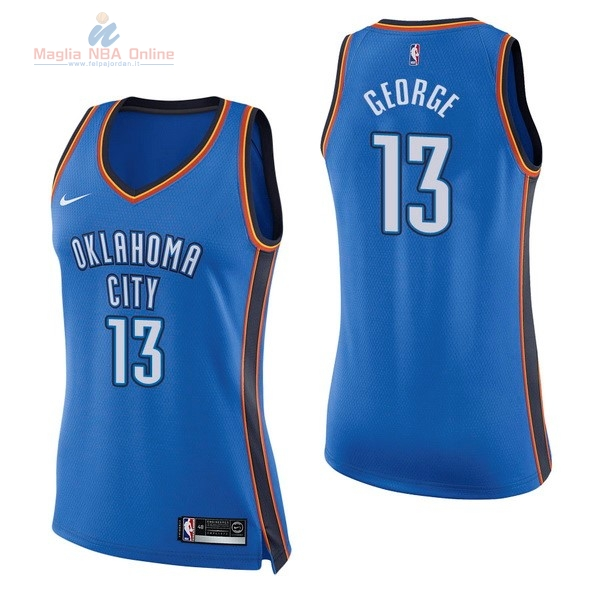 Acquista Maglia NBA Donna Oklahoma City Thunder #13 Paul George Blu Icon