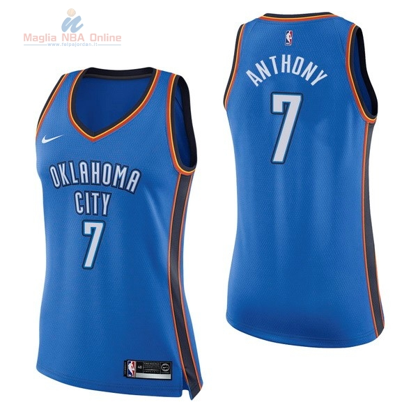 Acquista Maglia NBA Donna Oklahoma City Thunder #7 Carmelo Anthony Blu Icon