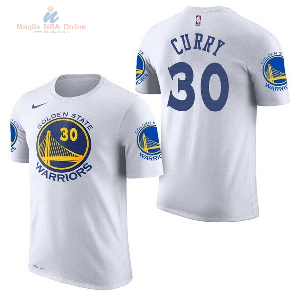 Acquista Maglia NBA Nike Golden State Warriors Manica Corta #30 Stephen Curry Bianco