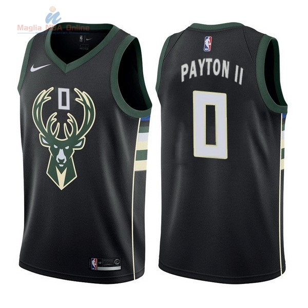 Acquista Maglia NBA Nike Milwaukee Bucks #0 Gary Payton II Nero Statement
