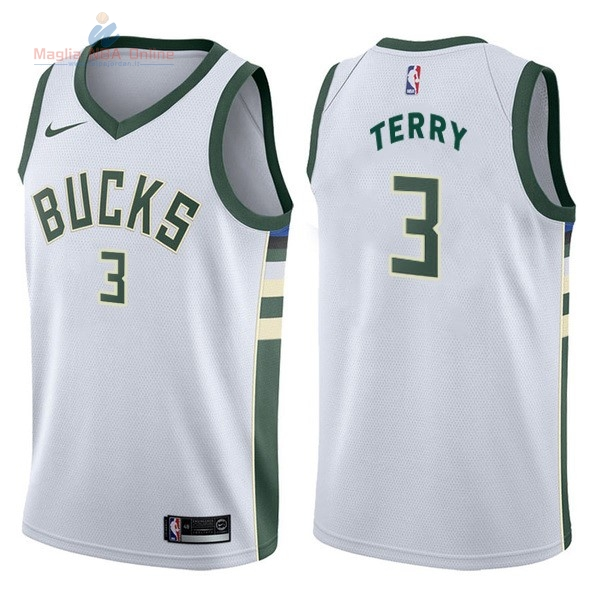 Acquista Maglia NBA Nike Milwaukee Bucks #3 Jason Terry Bianco Association