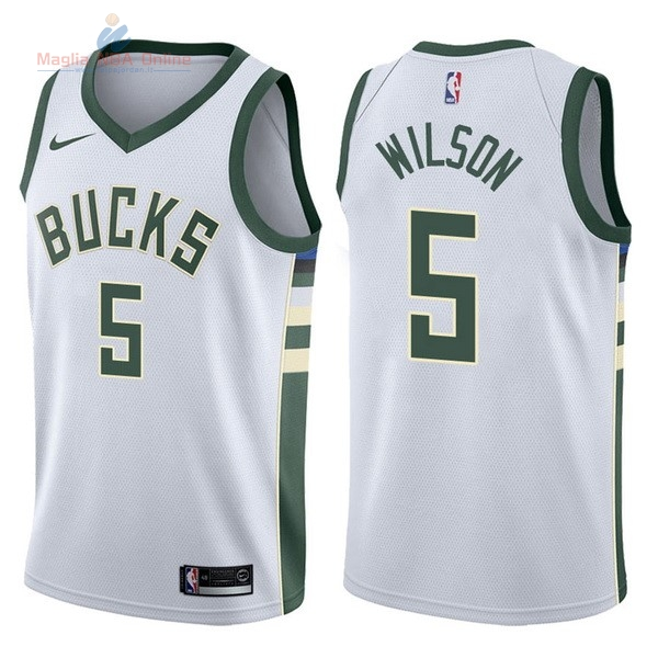 Acquista Maglia NBA Nike Milwaukee Bucks #5 D.J. Wilson Bianco Association