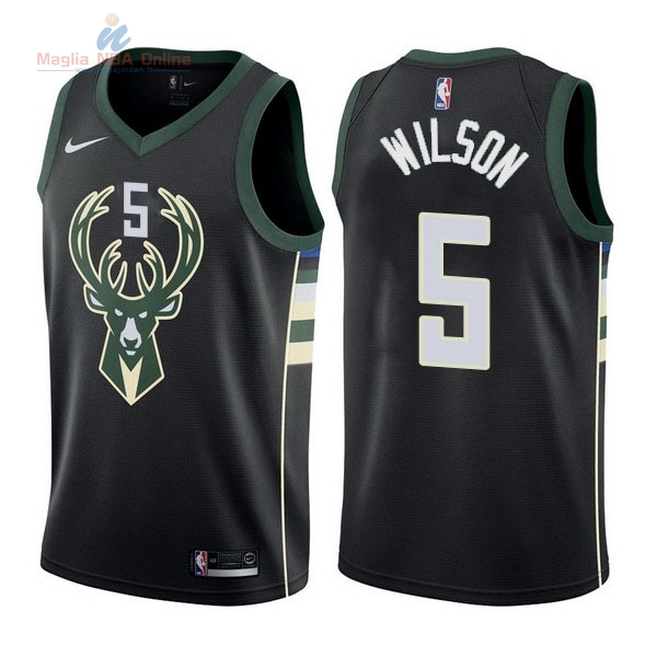 Acquista Maglia NBA Nike Milwaukee Bucks #5 D.J. Wilson Nero Statement
