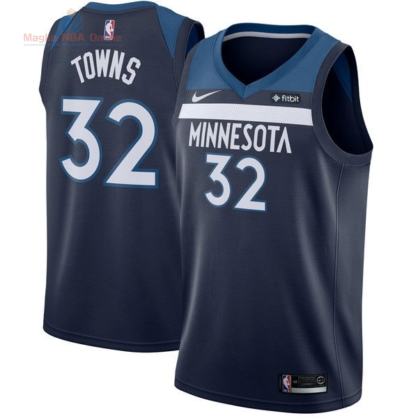 Acquista Maglia NBA Nike Minnesota Timberwolves #32 Karl Anthony Towns Marino