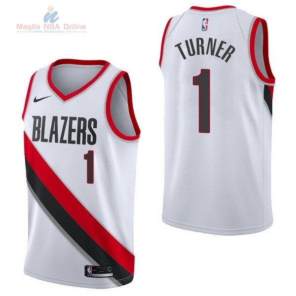 Acquista Maglia NBA Nike Portland Trail Blazers #1 Evan Turner Bianco Association
