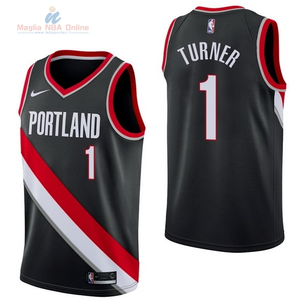 Acquista Maglia NBA Nike Portland Trail Blazers #1 Evan Turner Nero Icon