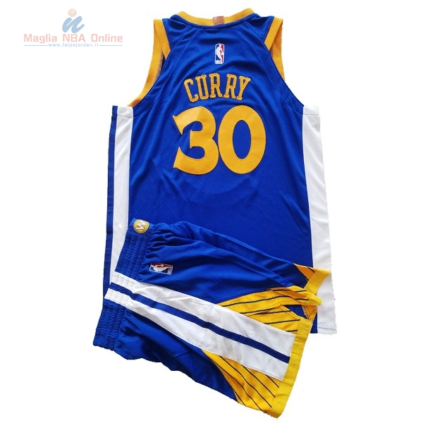 Acquista Maglia NBA Set Completo Bambino Golden State Warriors #30 Stephen Curry Blu 2017-18