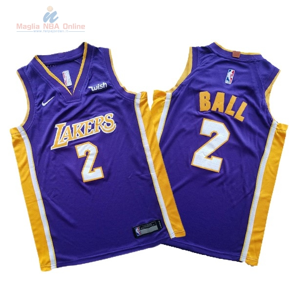 Acquista Maglia NBA Set Completo Bambino Los Angeles Lakers #2 Lonzo Ball Porpora 2017-18