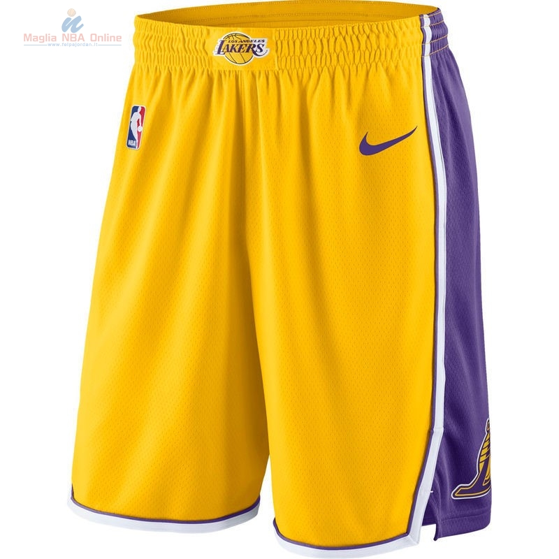 Acquista Pantaloni Basket Los Angeles Lakers Nike Giallo