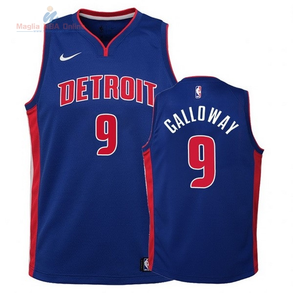Acquista Maglia NBA Bambino Detroit Pistons #9 Langston Galloway Blu Icon