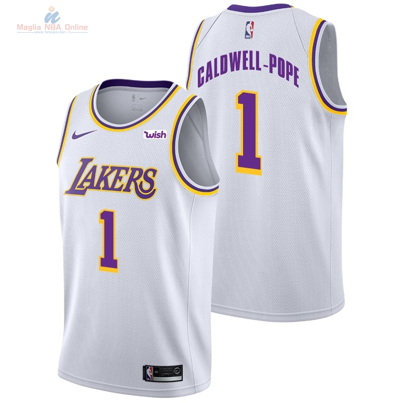 Acquista Maglia NBA Nike Los Angeles Lakers #1 Kentavious Caldwell Pope Bianco 2018-19