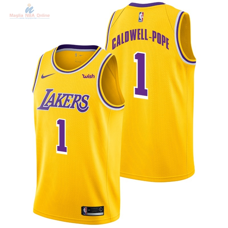 Acquista Maglia NBA Nike Los Angeles Lakers #1 Kentavious Caldwell Pope Giallo 2018-19