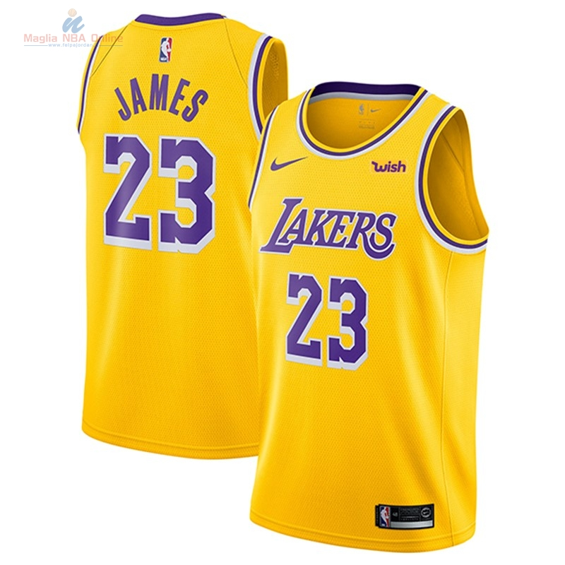 Acquista Maglia NBA Nike Los Angeles Lakers #23 Lebron James Giallo 2018-19