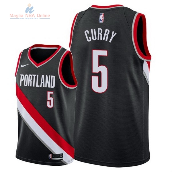 Acquista Maglia NBA Nike Portland Trail Blazers #5 Seth Curry Nero Icon 2018