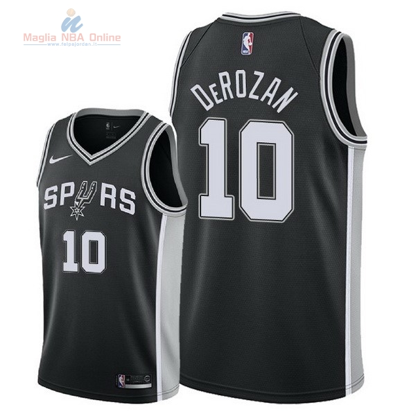 Acquista Maglia NBA Nike San Antonio Spurs #10 DeMar DeRozan Nero Icon 2018