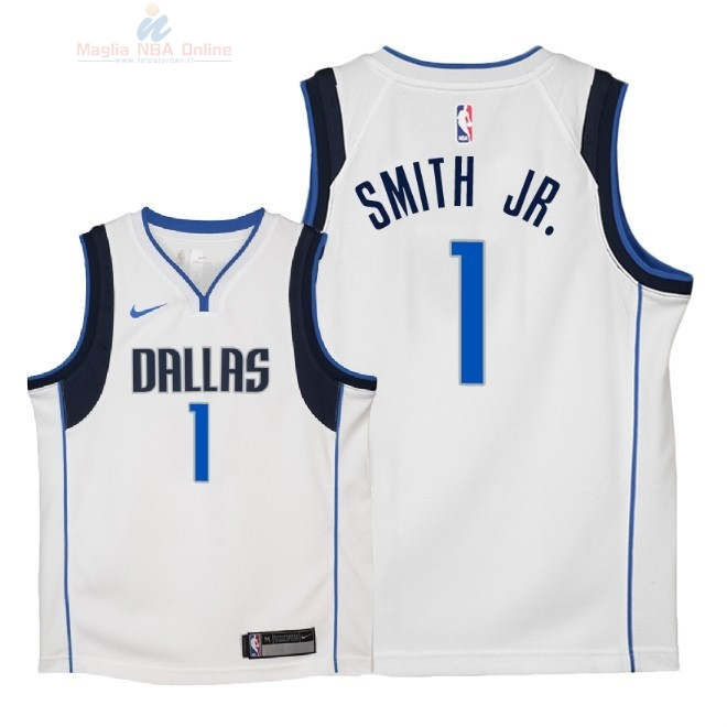 Acquista Maglia NBA Bambino Dallas Mavericks #1 Dennis Smith Jr Bianco Association 2018