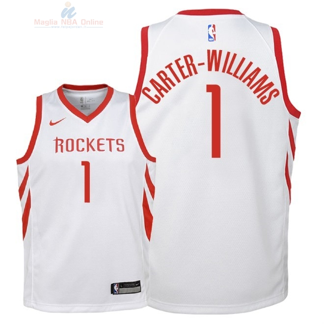 Acquista Maglia NBA Bambino Houston Rockets #1 Michael Carter Williams Bianco Association 2018