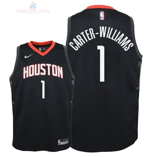 Acquista Maglia NBA Bambino Houston Rockets #1 Michael Carter Williams Nero Statement 2018