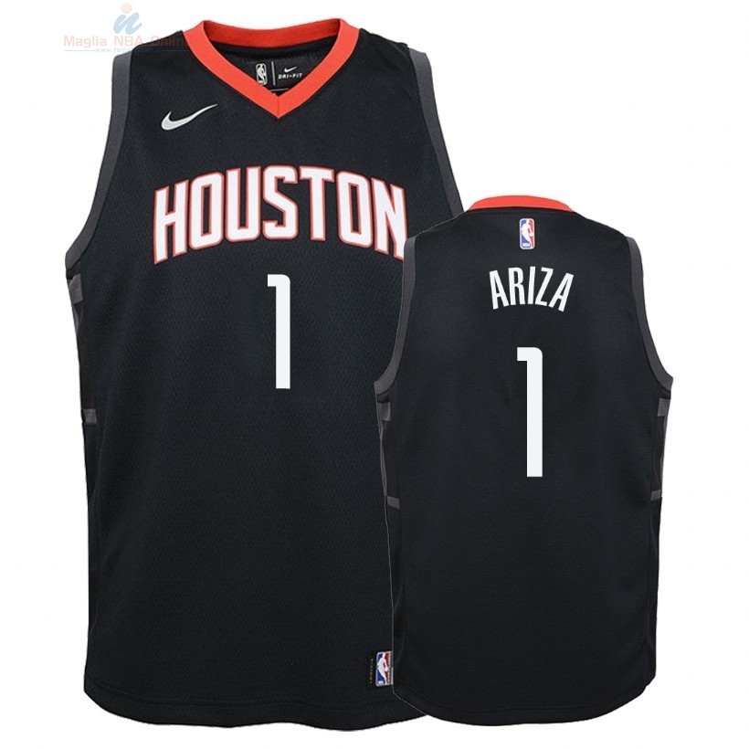 Acquista Maglia NBA Bambino Houston Rockets #1 Trevor Ariza Nero Statement 2018