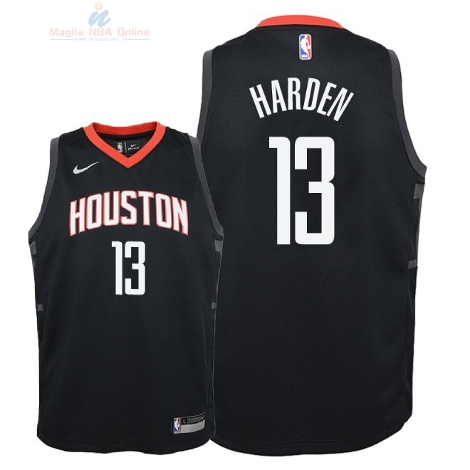 Acquista Maglia NBA Bambino Houston Rockets #13 James Harden Nero Statement 2018