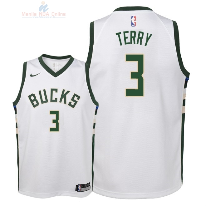 Acquista Maglia NBA Bambino Milwaukee Bucks #3 Jason Terry Bianco Association 2018
