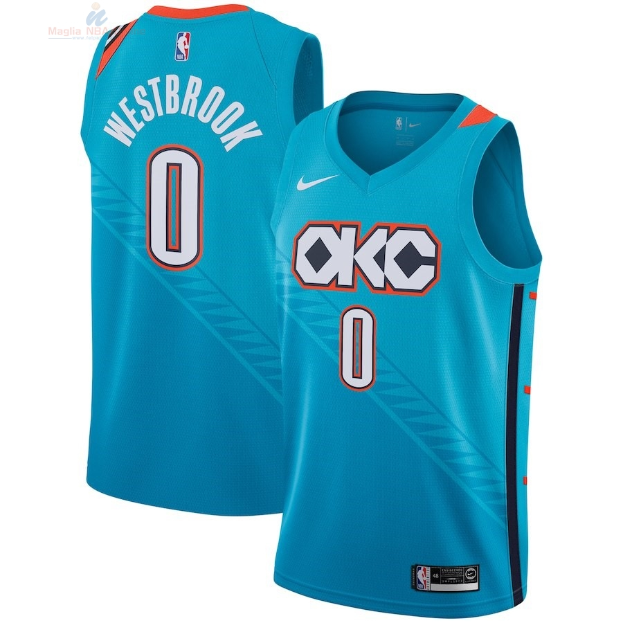Acquista Maglia NBA Bambino Oklahoma City Thunder #0 Russell Westbrook Nike Turchese Città 2018-19