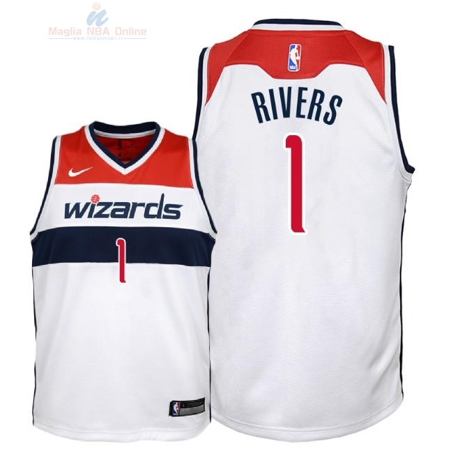 Acquista Maglia NBA Bambino Washington Wizards #1 Austin Rivers Bianco Association 2018