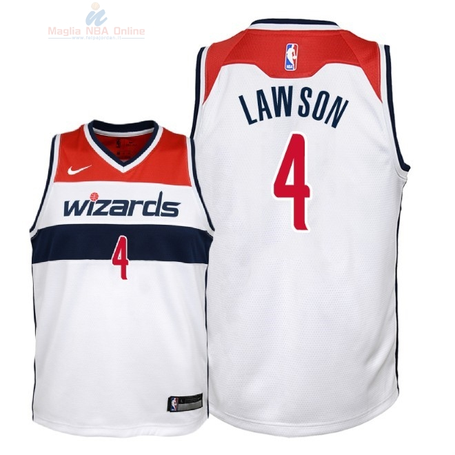 Acquista Maglia NBA Bambino Washington Wizards #4 Ty Lawson Bianco Association 2018