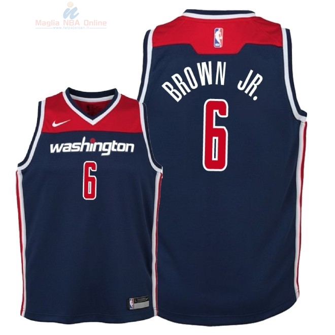 Acquista Maglia NBA Bambino Washington Wizards #6 Troy Brown Jr Marino Statement 2018