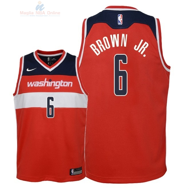 Acquista Maglia NBA Bambino Washington Wizards #6 Troy Brown Jr Rosso Icon 2018