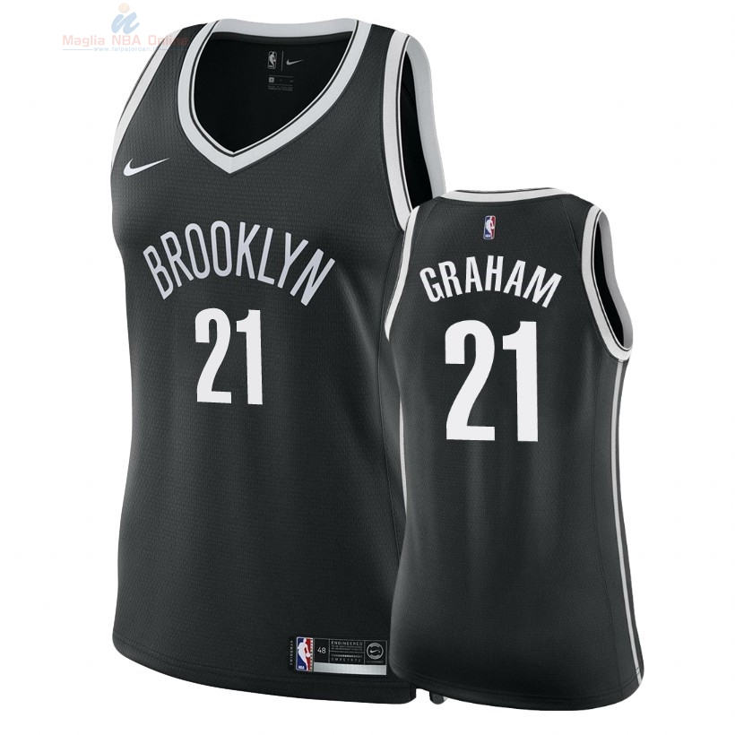 Acquista Maglia NBA Donna Brooklyn Nets #21 Treveon Graham Nero Icon 2018
