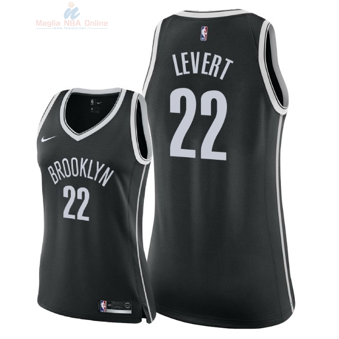 Acquista Maglia NBA Donna Brooklyn Nets #22 Caris LeVert Nero Icon 2018