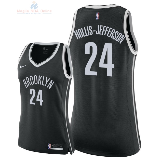 Acquista Maglia NBA Donna Brooklyn Nets #24 Rondae Hollis Jefferson Nero Icon 2018
