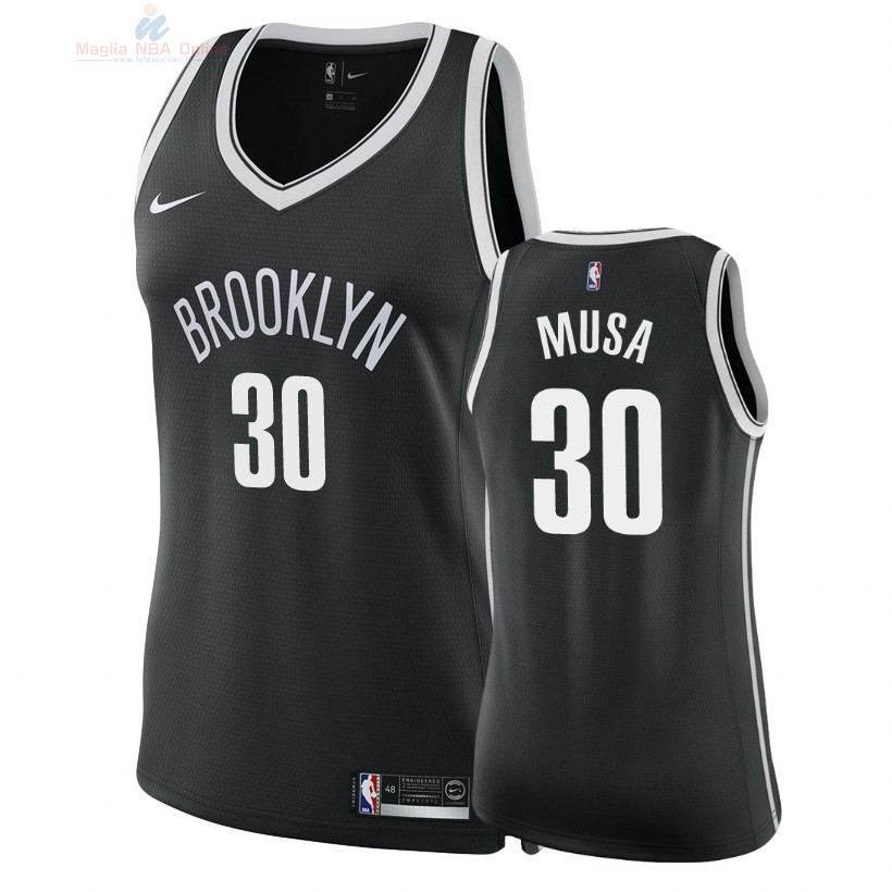 Acquista Maglia NBA Donna Brooklyn Nets #30 Dzanan Musa Nero Icon 2018