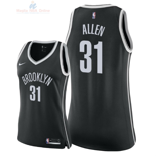 Acquista Maglia NBA Donna Brooklyn Nets #31 Jarrett Allen Nero Icon 2018