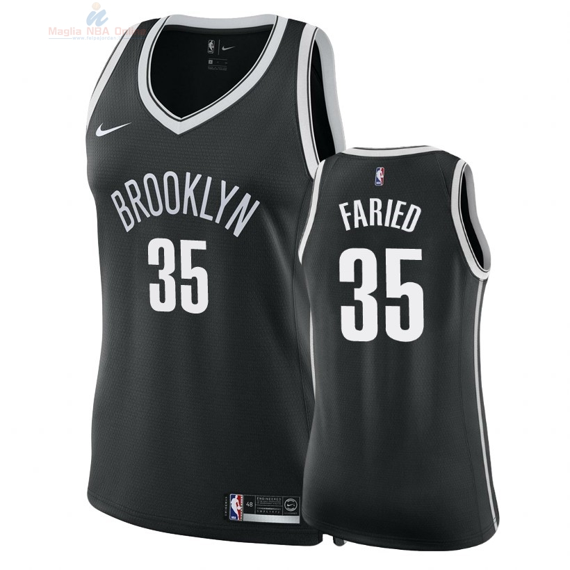 Acquista Maglia NBA Donna Brooklyn Nets #35 Kenneth Faried Nero Icon 2018