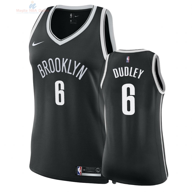 Acquista Maglia NBA Donna Brooklyn Nets #6 Jared Dudley Nero Icon 2018