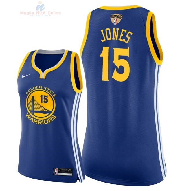 Acquista Maglia NBA Donna Golden State Warriors 2018 Campionato Finali #15 Damian Jones Blu Icon Patch
