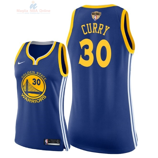 Acquista Maglia NBA Donna Golden State Warriors 2018 Campionato Finali #30 Stephen Curry Blu Icon Patch