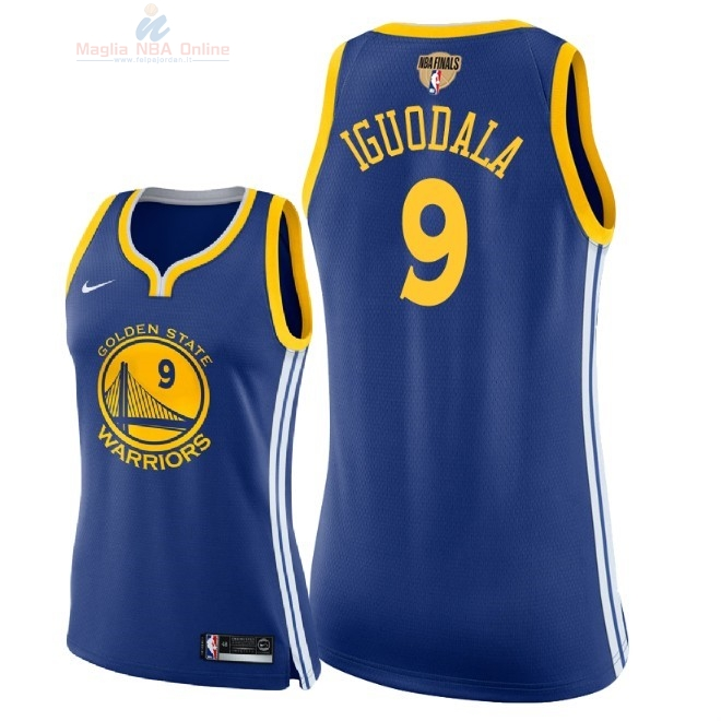 Acquista Maglia NBA Donna Golden State Warriors 2018 Campionato Finali #9 Andre Iguodala Blu Icon Patch