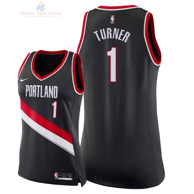 Acquista Maglia NBA Donna Portland Trail Blazers #1 Evan Turner Nero Icon 2018