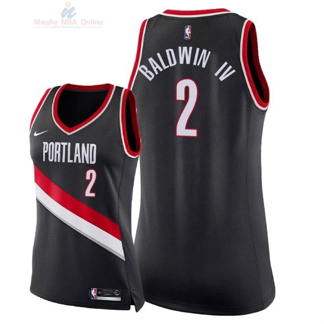 Acquista Maglia NBA Donna Portland Trail Blazers #2 Wade Baldwin IV Nero Icon 2018