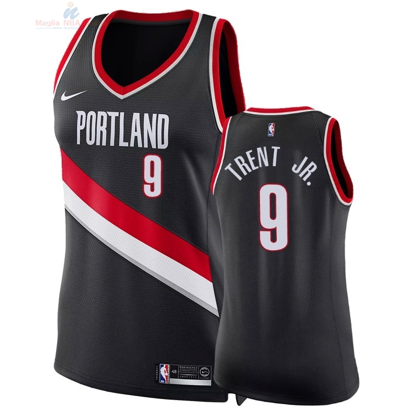 Acquista Maglia NBA Donna Portland Trail Blazers #9 Gary Trent Jr Nero Icon 2018