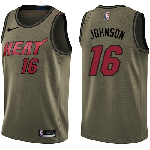 Acquista Maglia NBA Miami Heat Servizio Di Saluto #16 James Johnson Nike Army Green 2018