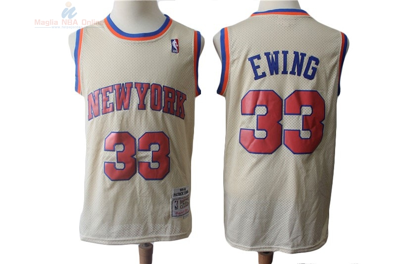 Acquista Maglia NBA New York Knicks #33 Patrick Ewing Retro Crema 1991-92